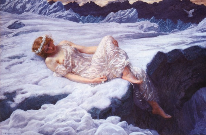 Heart of Snow oil painting by Robert Hughes shows a woman in resting on the snow in far mountains