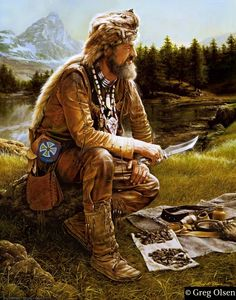 Greg Olson painting of a mountain man